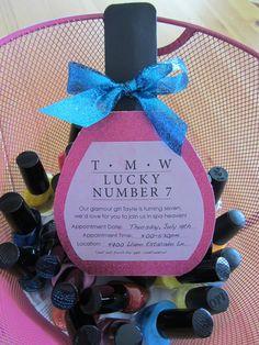 Nail polish favors from a Spa Party #nailpolish #spaparty