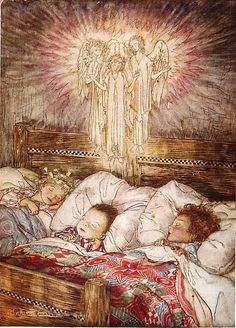 Guardian Angels watching over children dreaming dreams of innocence. Illustration by Arthur Rackham