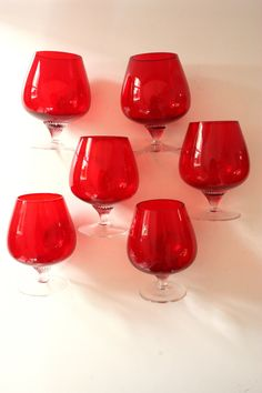 Ruby Red Brandy Balloons Glasses Set of Six by TriBecasVintage, $36.00