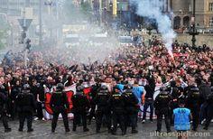 The marching through the streets on gameday. Sparta Praha vs Slavia Praha.
