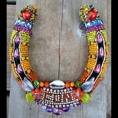FUN Beaded Horseshoe by Betsy Youngquist by betsyyoungquist, $325.00