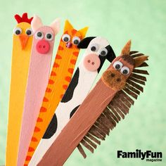 Farm Friends: Use these compact cuties to put on a puppet show in a shoe box theater. Paint jumbo craft sticks as shown. Add button, bead, felt, and googly eye features with tacky glue. Use a black marker to add nostrils or other details. #FamilyFunMagDay