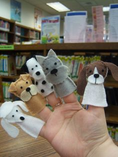 Adorable Puppy Puppets for sorytelling fun!  (links to a blog post, which links to an Etsy shop that sells the patterns to make these~~don't know that I would pay for a pattern...pinned as a reminder that there are super cute and easy ways to make story telling more fun :)