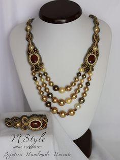 Soutache necklace and bracelet with semiprecious Gemstone (RED JASPER) and Swarovski pearls