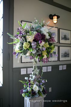 Large arrangement cream, green and purple, little bit more cream and lavender though, this has too much green