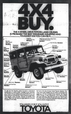 Land Cruisers Manuals, Factory Lit, etc. - Page 12 Toyota 4x4, Toyota Trucks, Toyota Cars, Toyota 4runner, Best Classic Cars, Classic Trucks, Toyota Land Cruiser, Vintage Trucks, Vintage Ads