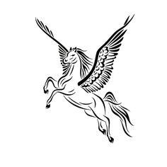 Woman Pegasus Tattoo | Tribal Pegasus Tattoo Design by JSHarts