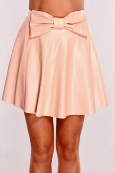 Peach Faux Leather Sexy Skater Skirt / Sexy Clubwear | Party Dresses | Sexy Shoes | Womens Shoes and Clothing | AMI CLubwear