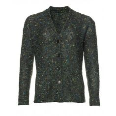 Long-sleeved cardigan, wool/wool mohair blend with button closure, small pockets on the bottom and faux mother-of-pearl buttons. Loose fit.