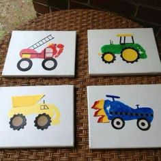 cute footprint trucks on canvas to decorate a nursery