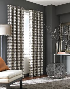Living Room: Best Brown Curtain Design Ideas With Stained Wall And One Chair Also One Table from Two Ways of the Living Room Curtain Ideas