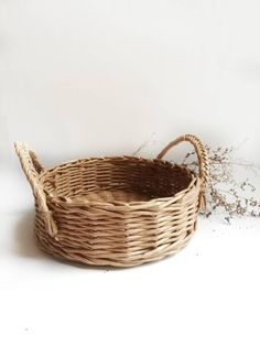"24 X 12/"" NATURAL WICKER HANGING BASKET LINED 30CM RATTAN WILLOW FLOWER PLANTER"
