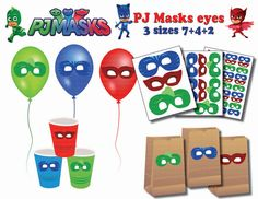 INSTANT DL Pj Masks EYES Stickers  centerpiece  Party by PartyJony