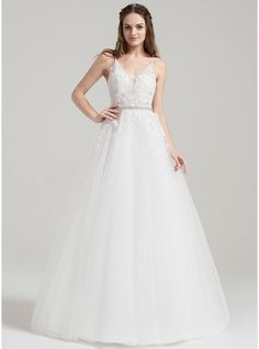2d92f7fb1b Ball-Gown V-neck Floor-Length Beading Appliques Lace Sequins Zipper Up  Spaghetti Straps Sleeveless Church General Plus No Winter Spring Fall Ivory  Tulle US ...