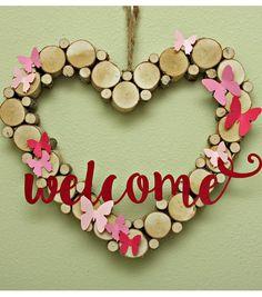Welcome Birch Heart Wreath
