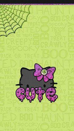Holiday Wallpaper, Fall Wallpaper, Cute Wallpaper Backgrounds, Halloween Wallpaper, Cute Wallpapers, Phone Wallpapers, Hello Kitty Cartoon, Melody Hello Kitty, Hello Kitty Art