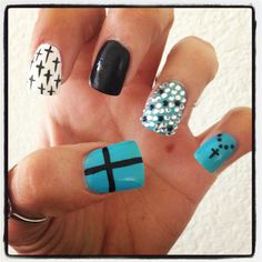 Baby blue cross nails