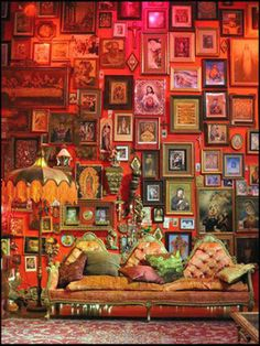 Oh wow - this vibrant Boho gallery wall decor gives a burst of color and more than a dash of eclectic design style!  EuroLuxHome.com
