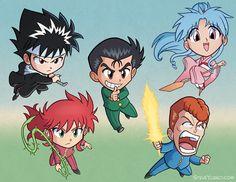 Chibi Hiei, Kurama, Yusuke, Kuwabara, Botan