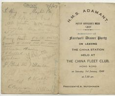 China st Hong Kong Old menu 1948 Fleet club HMS Adamant Chinese naval farewell