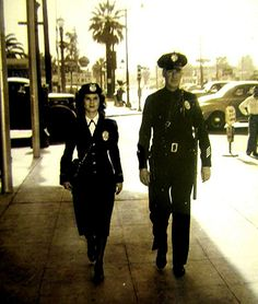 1940's Era ~ LAPD Policewoman & Officer on Foot Patrol.