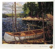"""The Canoe"", by member of the Group of Seven Canadian painters,Tom Thomson, 1912 Emily Carr, Group Of Seven Art, Group Of Seven Paintings, Canadian Painters, Canadian Artists, Canadian Things, Tom Thomson Paintings, Canada Landscape, Lakeside View"