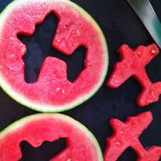 Watermelon Airplane cut-outs...could float inside a punch bowl or self-dispensing pitcher.  Also just to accent a fruit platter/tray.