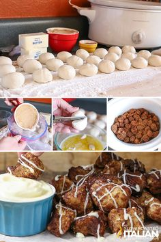 Slow Cooker Cinnamon Roll Pull Apart Bread from The Slow Roasted Italian. Slow Cooker Cinnamon Roll Pull Apart Bread from The Slow Roasted Italian. Crockpot Cinnamon Rolls, Cinnamon Roll Casserole, Cinnamon Roll Monkey Bread, Cinnamon Bread, Crockpot Dessert Recipes, Slow Cooker Recipes, Bread Recipes, Crockpot Meals, Rhodes Cinnamon Rolls