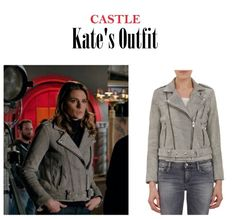 "On the blog: Detective Kate Beckett's (Stana Katic) gray mottled leather jacket | Castle 712 - ""Private Eye Caramba!"" #tvfashion #tvstyle #caskett #outfits #edgy"