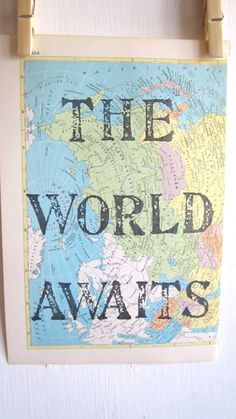 The World Awaits Print Map Art Handmade Map of by OpusandVerse