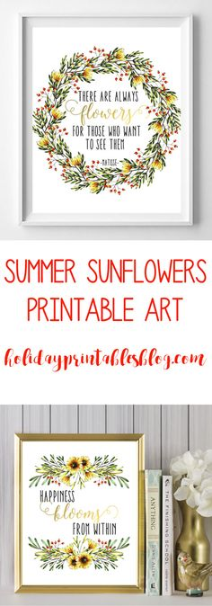 These summer sunflower free printables feature a bright and bold color palette of red, green and yellow! Perfect for your spring and summer decor!