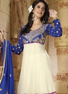 Latest Designer White Anarkali Suit With Blue Embroidered Full Sleeve buy best designer sarees collections,Best Deals On Womens Wear online store, Best Deals On Anarkali salwar Kameez, End of Season Sale on Designer Dress Matirials and Kurti #dress #salwarkameez #cotton #designer #readymad #fancydress #Anarkali #Paiala #Punjabi #Casual #Long #Cotton #long #saree #designer #printedsaree #casualwear #casualstyle #casualsaree #silksarees
