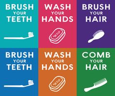 Free Downloadable Wall Art for the bathroom - Brush your teeth, wash your hands, brush your hair - Southern Rags