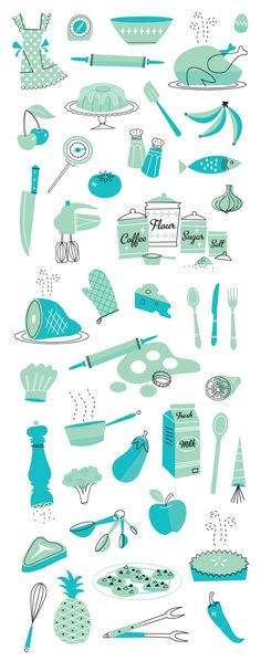 A fantastic set of turquoise kitchen images ... from a 50s-cookbook-illustrations by @Bradley Huber Huber Huber Huber Huber Woodard