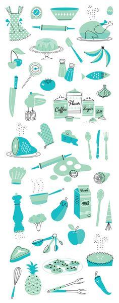50s cookbook illustrations