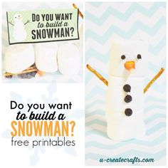 "Free Printable ""Do You Want to Build a Snowman"" Craft Kits Create these ""Do You Want to Build a Snowman"" craft kits the kids will love! Great for classroom parties, Christmas parties, and small gifts! Snowman Kit, Build A Snowman, Snowman Crafts, Christmas Projects, Holiday Crafts, Holiday Fun, Snowman Party, Snowman Games, Christmas Videos"