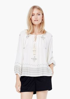 Bead detail blouse - Shirts for Women | MANGO
