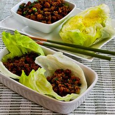 Recipe for Quick Sriracha Beef Lettuce Wraps [Visit the Blog for how-to photos for this recipe from Kalyn's Kitchen] #SouthBeachDiet #LowGlycemic #LowCarb