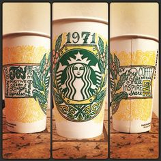 Old-world label cup design for Loves Loves White Cup Contest :) Starbucks Cup Design, Starbucks Art, White Cups, Beautiful Artwork, Old World, Doodles, Drawings, Creative Ideas, Label
