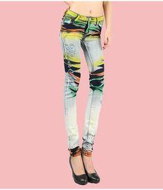 Gradient Painted Jeans Pants :