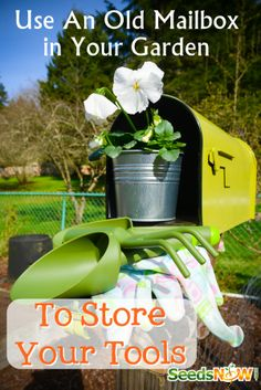 Here's an idea! Use an old mailbox to store your garden tools in!  http://themoreonesows.blogspot.com/2014/03/a-very-long-very-productive-sunday.html