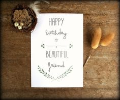 Happy Birthday My Beautiful Friend - Greeting Card with Pastel Green Laurel and fancy typography. Lovely card for your special friend. Birthday Cards For Mother, Best Friend Birthday Cards, Best Friend Cards, Husband Birthday, Happy Birthday Cards, Diy Birthday, Birthday Gifts, Bff, Creative Cards