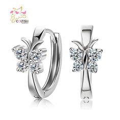 18K Platinum Plated Swarovski Zircon Wedding Earrings Butterfly Women Ear Buckle #Coltish #Stud