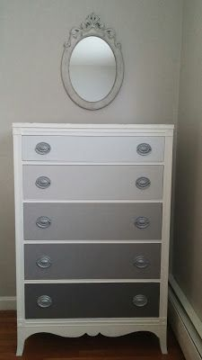 Hydrangeas and Harmony: Gray Ombre Dresser