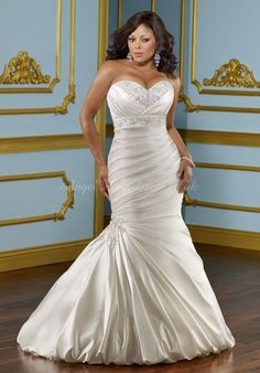 Court Train Beaded Sweetheart Satin Empire Waist  Wedding Dress