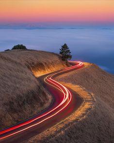 Roads of Mt.Tamalpais, San Francisco by San Francisco Feelings San Francisco Sites, San Francisco Travel, San Francisco California, Wonderful Places, Beautiful Places, Road Drawing, Road Photography, Mini Canvas Art, Winding Road