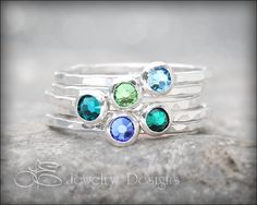 1 BIRTHSTONE STACKING RING  Crystal Stacking by LEJewelryDesigns - 2 sapphire stones for my September babies, with the hammered texture!  Not sure of the size...