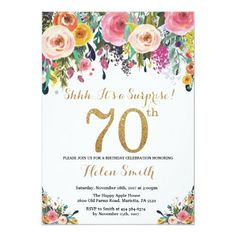 "Floral Surprise Birthday Invitation for Women. For further customization, please click the ""Customize it"" button and use our design tool to modify this template. Surprise 30th Birthday, Adult Birthday Party, 90th Birthday, Flower Birthday, Birthday Brunch, Gold Birthday, Birthday Ideas, Birthday Cards, Birthday Gifts"