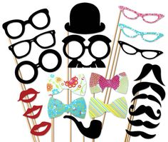 BEST PhotoBooth Prop - 22 piece Wedding Party set - Birthday Photo Booth Props