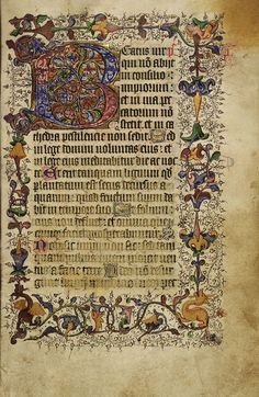 This psalter was copied in England (probably London) in the first quarter of the fifteenth century. It contains eight large decorated initials each one marking a liturgical division of the psalter. The Beatus initial shown here (Psalm 1) is illuminated with gold. The border contains interlinked stems of trumpet-shaped flowers, stamens and acanthus leaves, with two prancing dragons at the lower edge.   Psalters contained the 150 psalms from the Old Testament. They could also include some…
